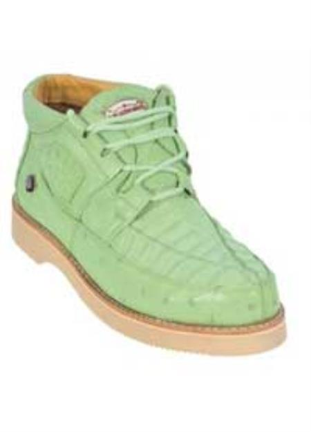 SKU#KA1354 Los Altos Pistachio Green Genuine Crocodile ~ Alligator / Ostrich Casual Shoes