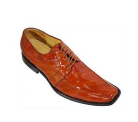 SKU#KA1355 Los Altos Orange All-Over Genuine Eel Shoes $279