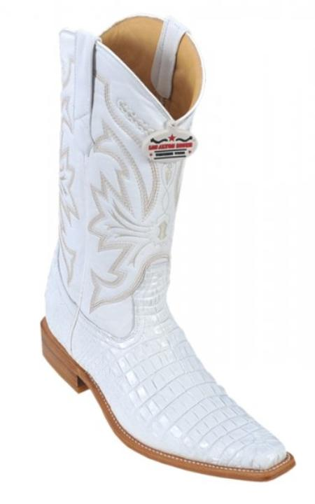 SKU#KA1356 Los Altos White Genuine All-Over Alligator Belly Leg Square Toe Print Cowboy Boots $279