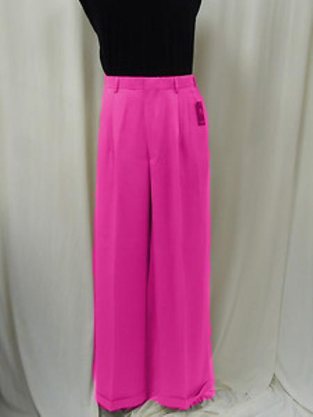 "SKU#KA1360 Mens Super 22"" Wide-Leg Pleated Baggy Style Dress Pants Pink $75"