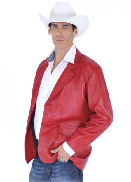 SKU#KA1366  larger image Los Altos Red Genuine Lamb skin Blazer Jacket $245