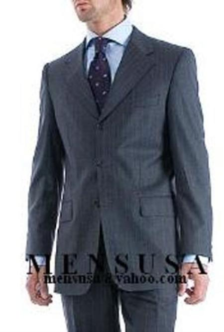 SKU# GJR235 Charcoal Gray Pinstripe Super 140s Wool Mens Suit Side Vent