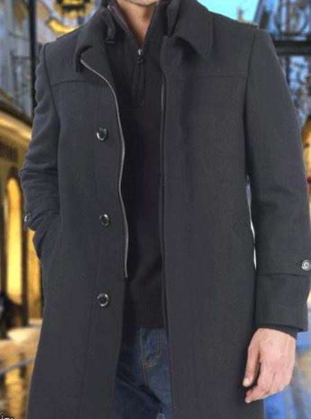 MensUSA.com 3 Button Wool Cashmere Coat in Black or Chestnut(Exchange only policy) at Sears.com