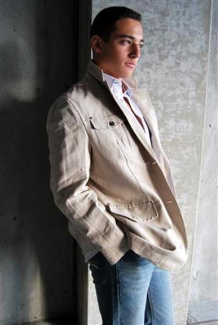 "SKU#KA1377 ""Scott"" Jacket in White Linen $99"