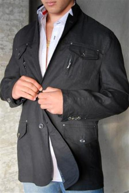 SKU#KA1378 Jacket in Charcoal Linen $99