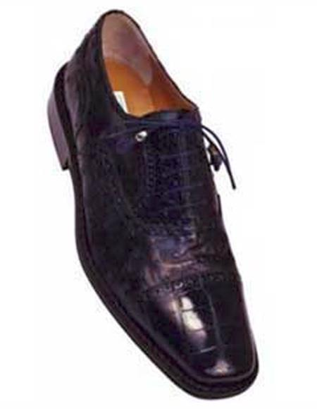 SKU#KA1379 Ferrini 203/528 Navy Genuine Alligator / Ostrich Shoes $519