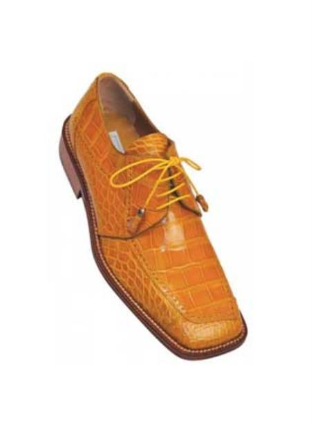 MensUSA.COM Ferrini Camel Genuine Alligator Shoes(Exchange only policy)