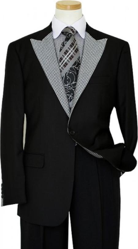SKU#KA1408 Manzini Black / White Houndstooth Trimming Blazer $175
