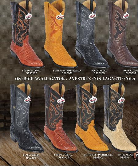 SKU#KA1411 Los Altos J-Toe Alligator ~ gator/Ostrich Print Mens Western Cowboy Boot $199
