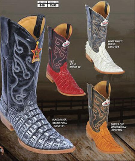 SKU#KA1412 Toe Alligator Tail Print Mens Western Cowboy Boots