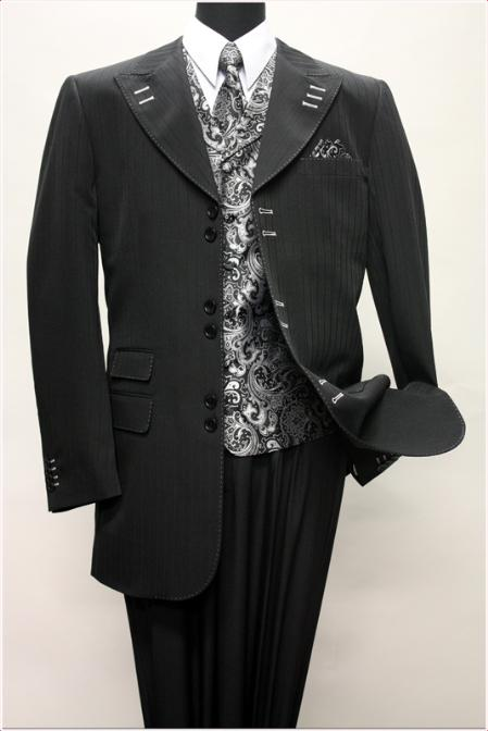 SKU#KA1425  BLACK WITH WHITE CONTRAST STITCHES SUIT 3PC WITH VEST & WIDE LEG PANTS$210