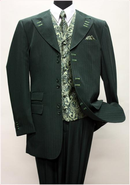 SKU#KA1426 HUNTER WITH MINT CONTRAST STITCHES SUIT 3PC WITH VEST & WIDE LEG PANTS  $210