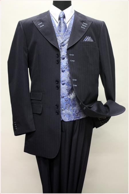 SKU#KA1427 NAVY WITH SKY BLUE CONTRAST STITCHES SUIT 3PC WITH VEST & WIDE LEG PANTS $210