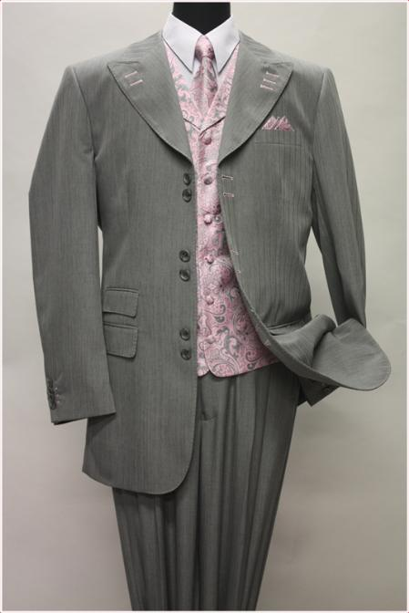 SKU#KA1425 GRAY WITH PINK CONTRAST STITCHES SUIT 3PC WITH VEST & WIDE LEG PANTS $210