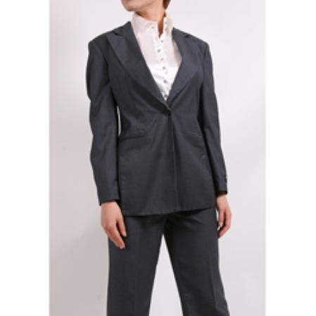 SKU#KA1459 Ferrecci Womens Charcoal Two-piece Suit $99