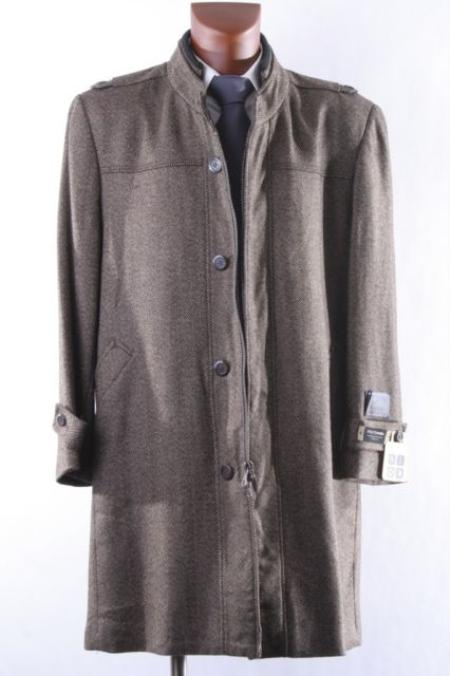 SKU#KA1460 MENS SINGLE BREASTED Camel ~ Khaki WOOL CASHMERE Topcoats ~ overcoat $175
