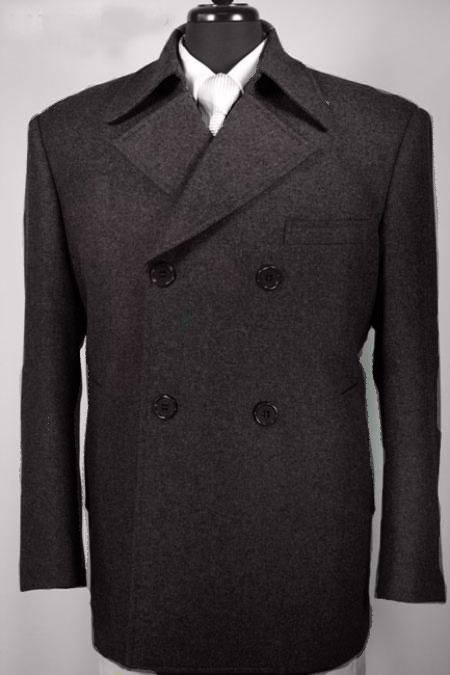 SKU#KA4933 Mens 100% Wool Double Breasted Pea Coat Black $139
