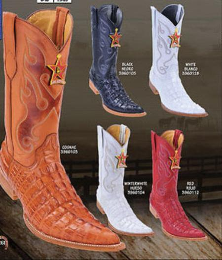 SKU#KA1413 Toe Alligator Tail Print Mens Western Cowboy Boot $139