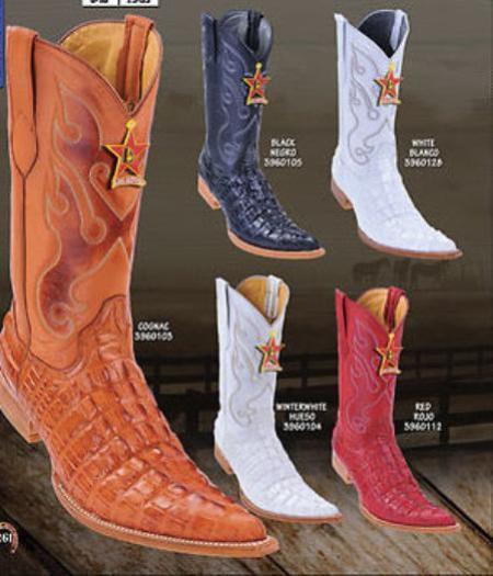 SKU#KA1413 Toe Alligator Tail Print Mens Western Cowboy Boot