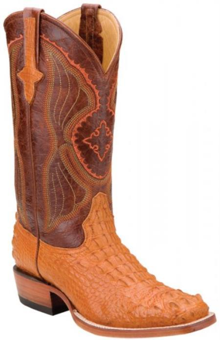 SKU#KA1400 Ferrini Peanut Genuine Hornback Nile Crocodile Boots $619