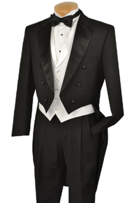 SKU#KA1401 Black Full Dress TailCoat Notch Collar 6 Buttons Pleated Pants + White lapeled Vest $275