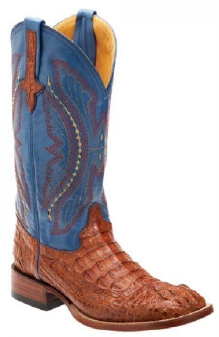 SKU#KA1396 Ferrini Cognac/Blue Genuine Caiman Crocodile Boots $399