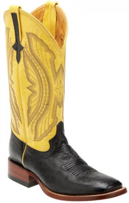 SKU#KA1393 Ferrini Black / Yellow Genuine Smooth Ostrich Boots $169