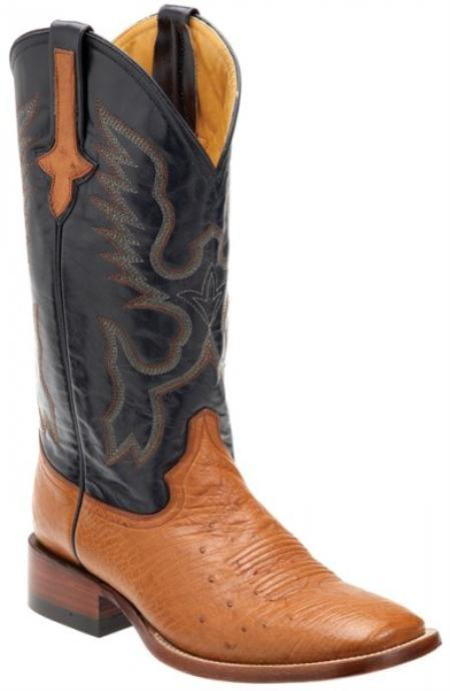 SKU#KA1392 Ferrini Cognac / Navy Genuine Smooth Ostrich Boots $169