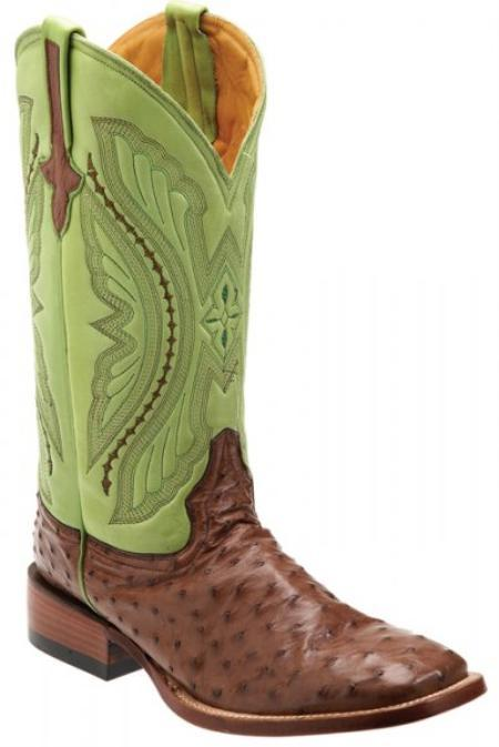 SKU#KA1391 Ferrini Kango/ Green Genuine Full Quill Ostrich Boots $389