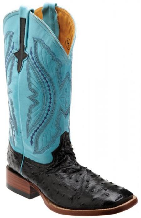 SKU#KA1390 Ferrini Black / turquoise ~ Light Blue Colored Genuine Full Quill Ostrich Boots $389