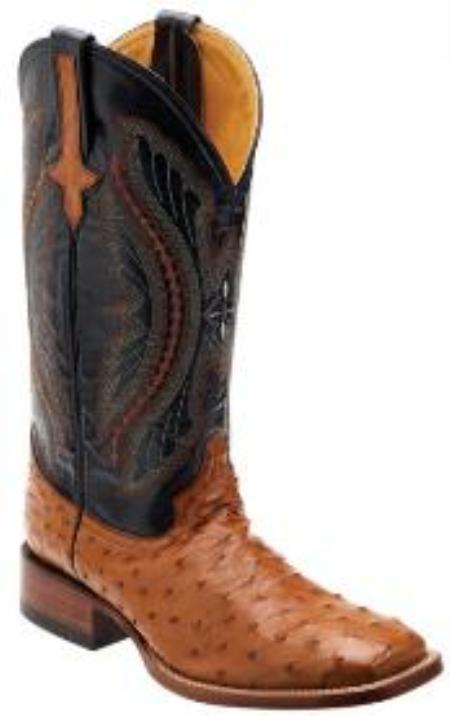 SKU#KA1389 Cognac / NavyGenuine Full Quill Ostrich Boots