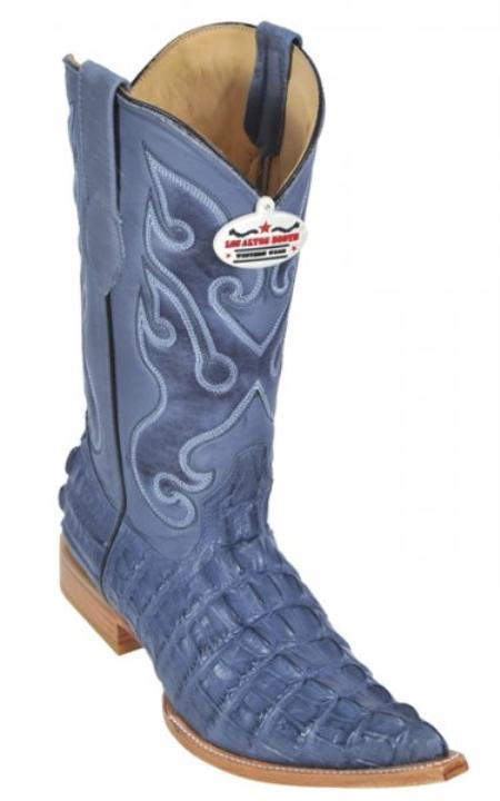 SKU#KA1357 Los Altos Blue Jean All-Over Alligator Tail Print Cowboy Boots $179