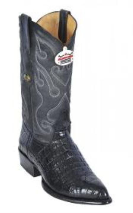 SKU#KA1255 Los Altos Black All-Over Alligator Belly J - Toe Print Cowboy Boots $209