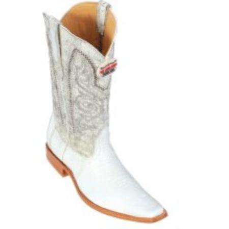 SKU#KA1129 Los Altos White Teju Square Toe Cowboy Boots $287
