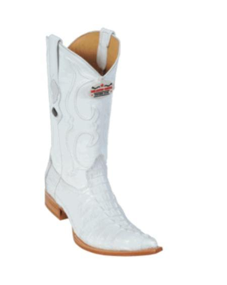 SKU#KA1128 Los Altos White caiman ~ alligator Tail Cowboy Boots $487