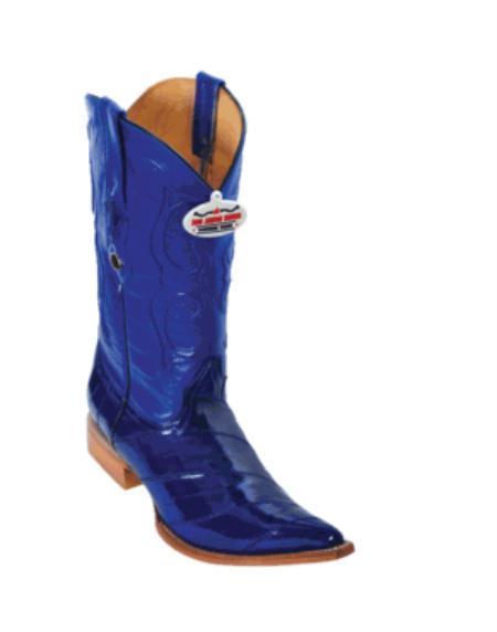 SKU#DK6388 Electric Blue Eel XXX-Toe Cowboy Boots $217