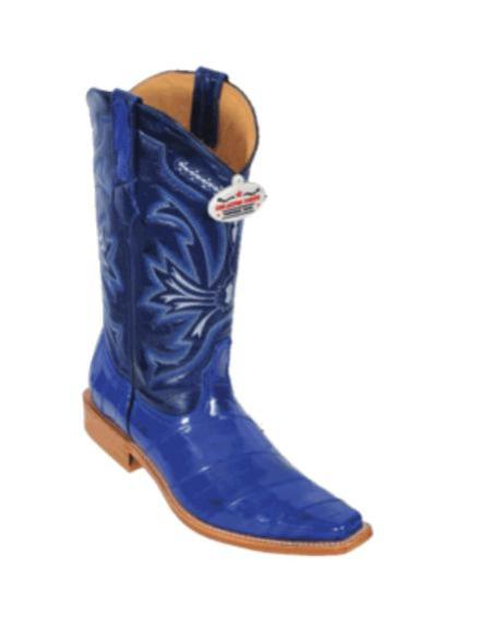 SKU#HB8653 Electric Blue Eel Cowboy Boots $217
