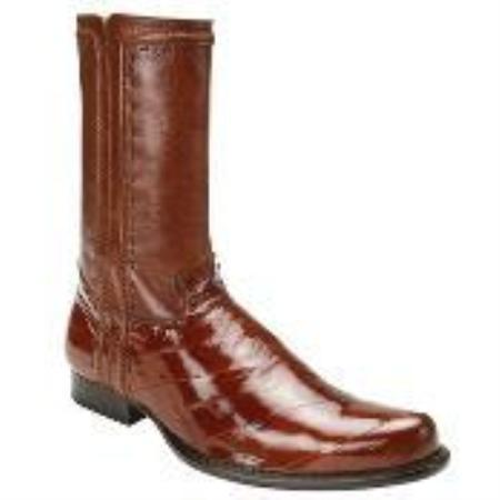 SKU#GY7834 Belvedere Men's Brandy Genuine Eel & Calf Boot $309