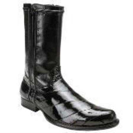 SKU#HW6740 Belvedere Men's Black Genuine Eel & Calf Boot $309