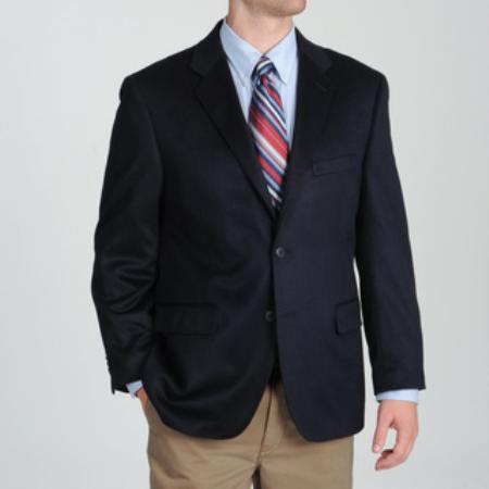 SKU#2BV-J40912C Mens Navy Wool & Cashmere Blend Sportcoat Blazer Jacket