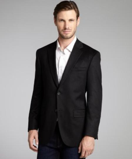 SKU#2BV-J40912C Black Wool & Cashmere Blend 2 Button Blazer $139