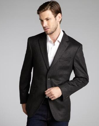 SKU#2BV-J40912C Charcoal Wool & Cashmere Blend 2 Button Blazer $139