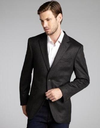 SKU#GT666  Mens Slim Fit Wool & Cashmere Blend 2 Button Blazer Rich Charcoal $175