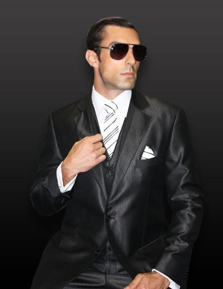 SKU#SQ7643 Black 3pc 2 Button Shiny Shark Skin Tone on Tone Suit with Pikie Stitches on the Lapel $199