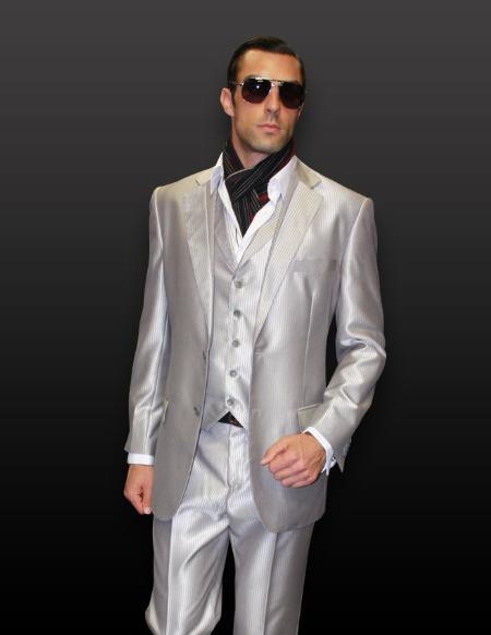 SKU#SL5046 Silver 3pc 2 Button Shiny Shark Skin Tone on Tone Suit with Pikie Stitches on the Lapel $199