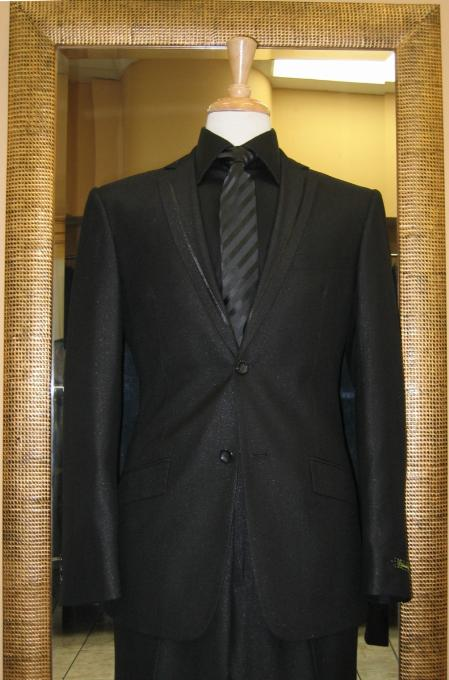 SKU#XZ8702 2 Button Black Slim Fit Suit with Taping on the Lapels $185