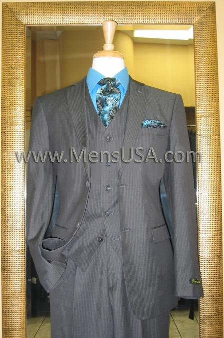 SKU#CH7895 2 Button 3 Piece Charcoal Tone on Tone Slim Fit Suit $185