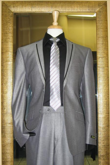 SKU#JH8461 2 Button Silver Slim Fit Suit with Taping on the Lapels $185