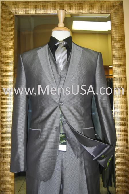 SKU#KZ2814 2 Button 3 Piece Silver Shiny Slim Fit Suit