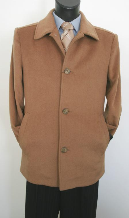 SKU#CM3821 Car Valenti Designer Wool & Cashmere Single breasted Coat Style Camel ~ Khaki